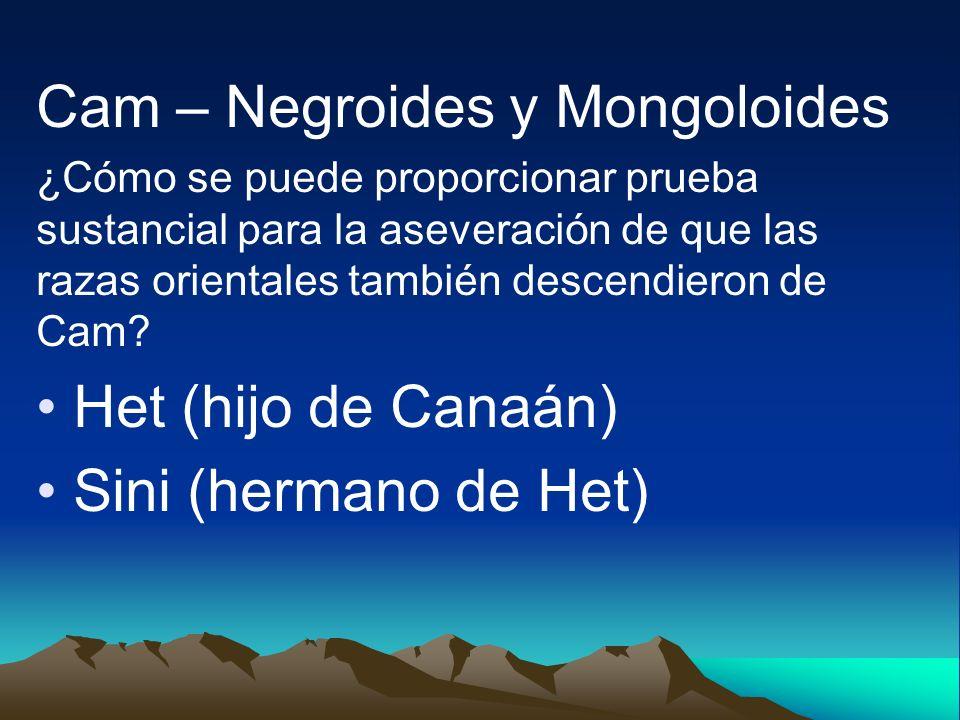 Cam – Negroides y Mongoloides ¿Cómo se puede proporcionar prueba sustancial para la aseveración de que las razas orientales también descendieron de Ca