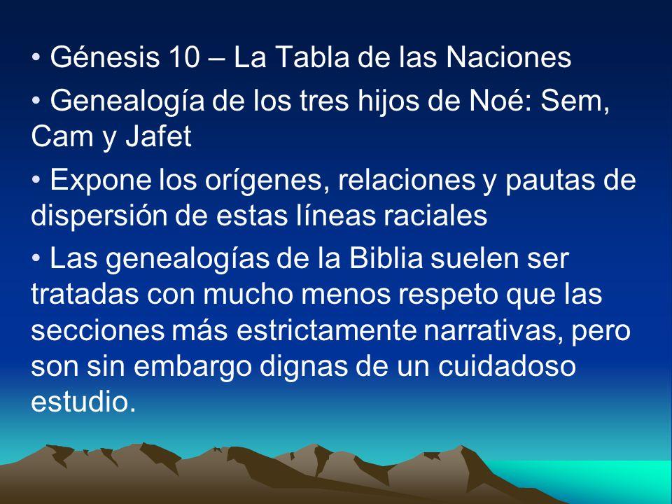 Génesis 10 – La Tabla de las Naciones Genealogía de los tres hijos de Noé: Sem, Cam y Jafet Expone los orígenes, relaciones y pautas de dispersión de