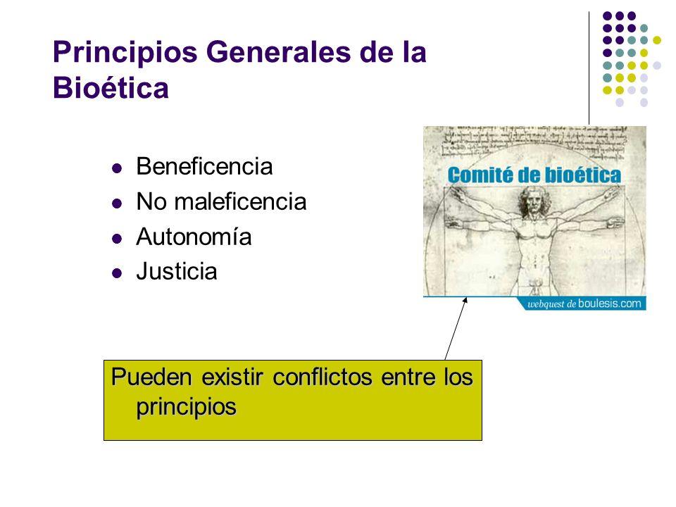 Principios Generales de la Bioética Beneficencia No maleficencia Autonomía Justicia Pueden existir conflictos entre los principios