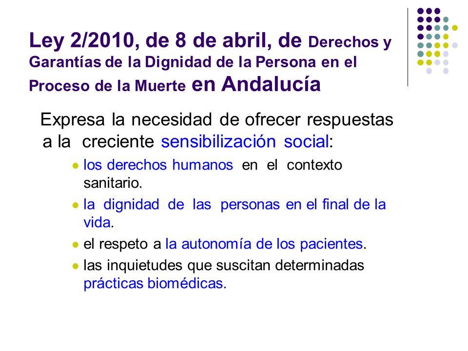 Ley 2/2010, de 8 de abril, de Derechos y Garantías de la Dignidad de la Persona en el Proceso de la Muerte en Andalucía Expresa la necesidad de ofrece