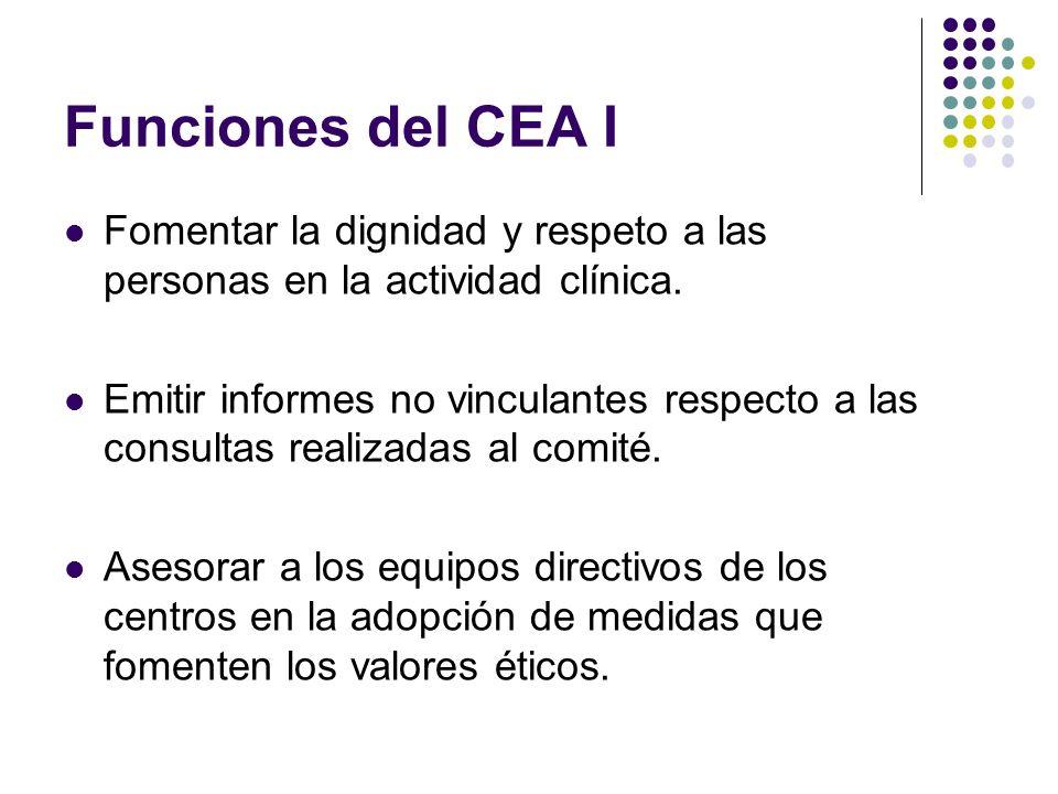Funciones del CEA I Fomentar la dignidad y respeto a las personas en la actividad clínica. Emitir informes no vinculantes respecto a las consultas rea