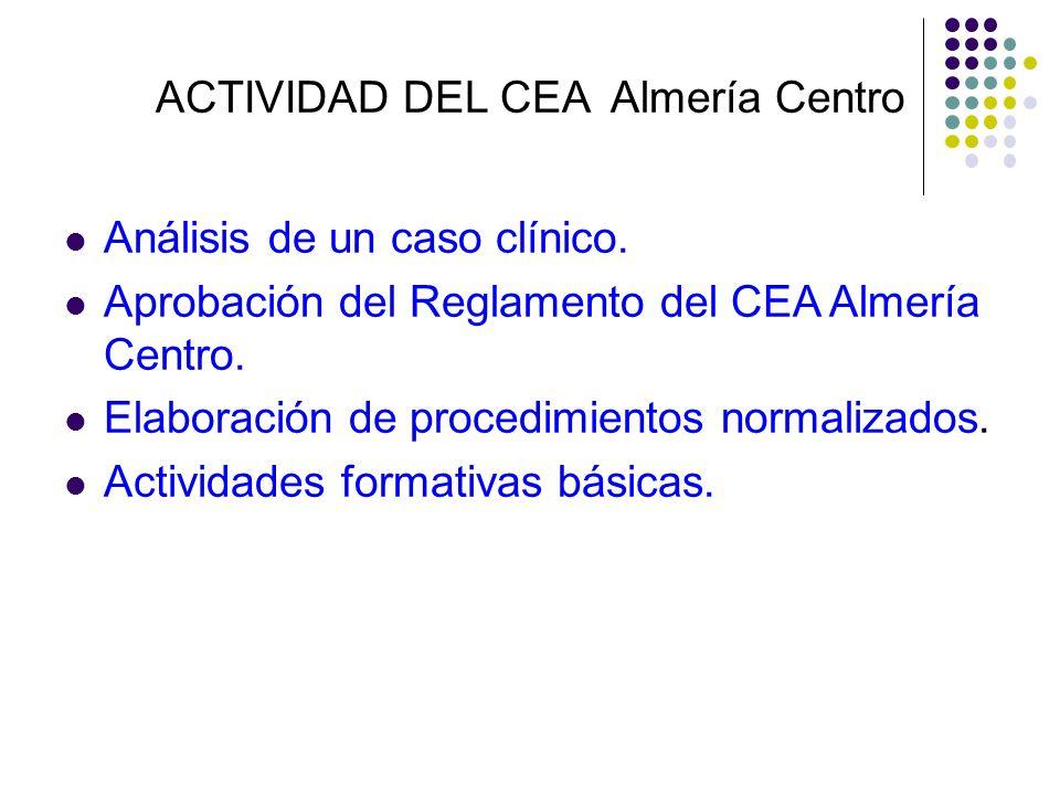 ACTIVIDAD DEL CEA Almería Centro Análisis de un caso clínico. Aprobación del Reglamento del CEA Almería Centro. Elaboración de procedimientos normaliz