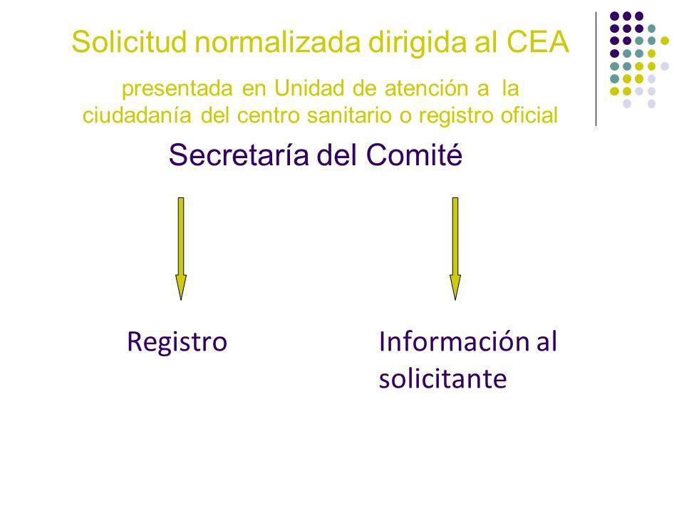 RegistroInformación al solicitante Secretaría del Comité Solicitud normalizada dirigida al CEA presentada en Unidad de atención a la ciudadanía del ce