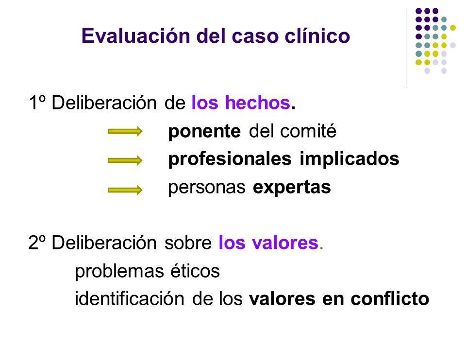 Evaluación del caso clínico 1º Deliberación de los hechos. ponente del comité profesionales implicados personas expertas 2º Deliberación sobre los val