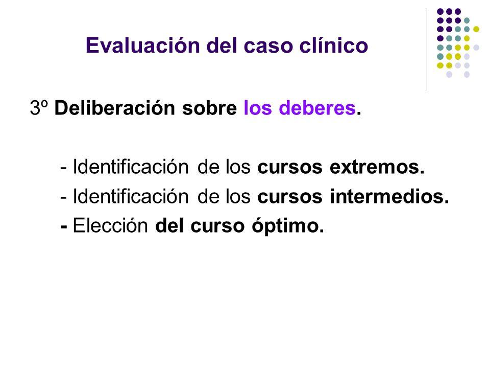 Evaluación del caso clínico 3º Deliberación sobre los deberes. - Identificación de los cursos extremos. - Identificación de los cursos intermedios. -