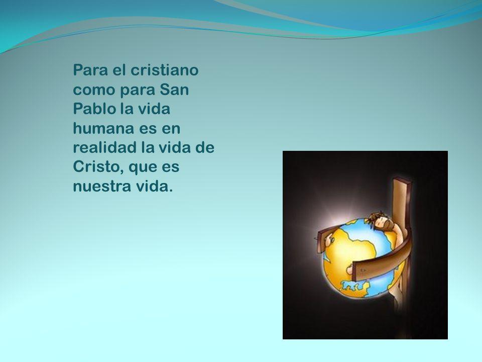 Para el cristiano como para San Pablo la vida humana es en realidad la vida de Cristo, que es nuestra vida.