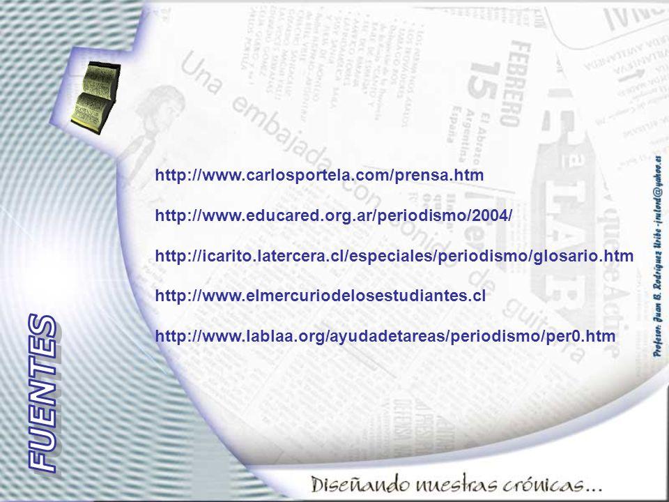 http://www.carlosportela.com/prensa.htm http://www.educared.org.ar/periodismo/2004/ http://icarito.latercera.cl/especiales/periodismo/glosario.htm htt