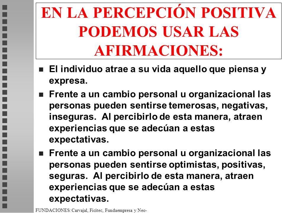 EN LA PERCEPCIÓN POSITIVA PODEMOS USAR LAS AFIRMACIONES: n El individuo atrae a su vida aquello que piensa y expresa.