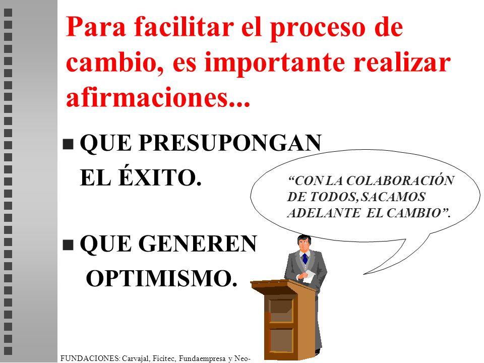 FUNDACIONES: Carvajal, Ficitec, Fundaempresa y Neo- Humanista. Para facilitar el proceso de cambio, es importante realizar afirmaciones... n QUE PRESU