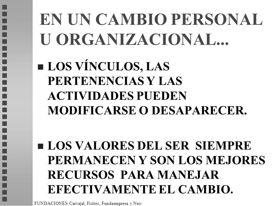 FUNDACIONES: Carvajal, Ficitec, Fundaempresa y Neo- Humanista. EN UN CAMBIO PERSONAL U ORGANIZACIONAL... n LOS VÍNCULOS, LAS PERTENENCIAS Y LAS ACTIVI