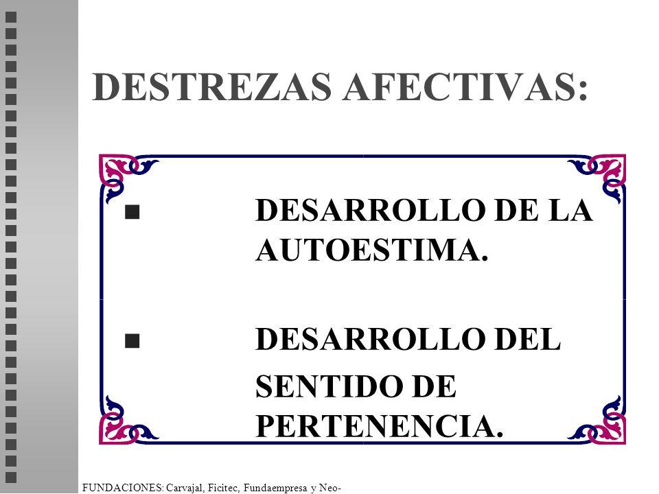 FUNDACIONES: Carvajal, Ficitec, Fundaempresa y Neo- Humanista. DESTREZAS AFECTIVAS: n DESARROLLO DE LA AUTOESTIMA. n DESARROLLO DEL SENTIDO DE PERTENE