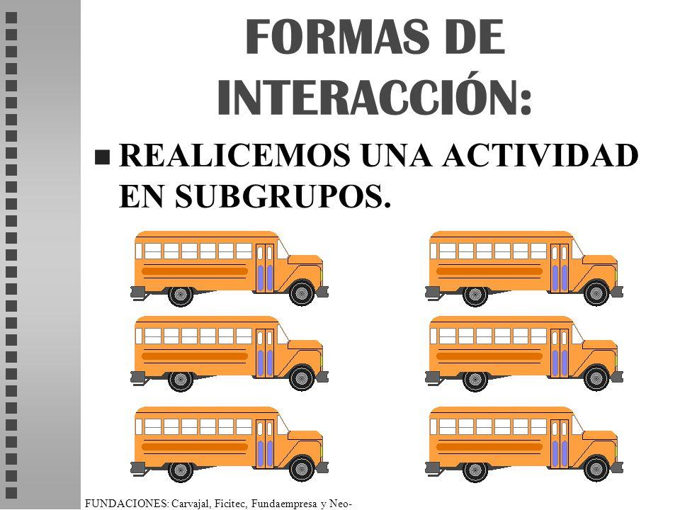 FUNDACIONES: Carvajal, Ficitec, Fundaempresa y Neo- Humanista. FORMAS DE INTERACCIÓN: n REALICEMOS UNA ACTIVIDAD EN SUBGRUPOS.