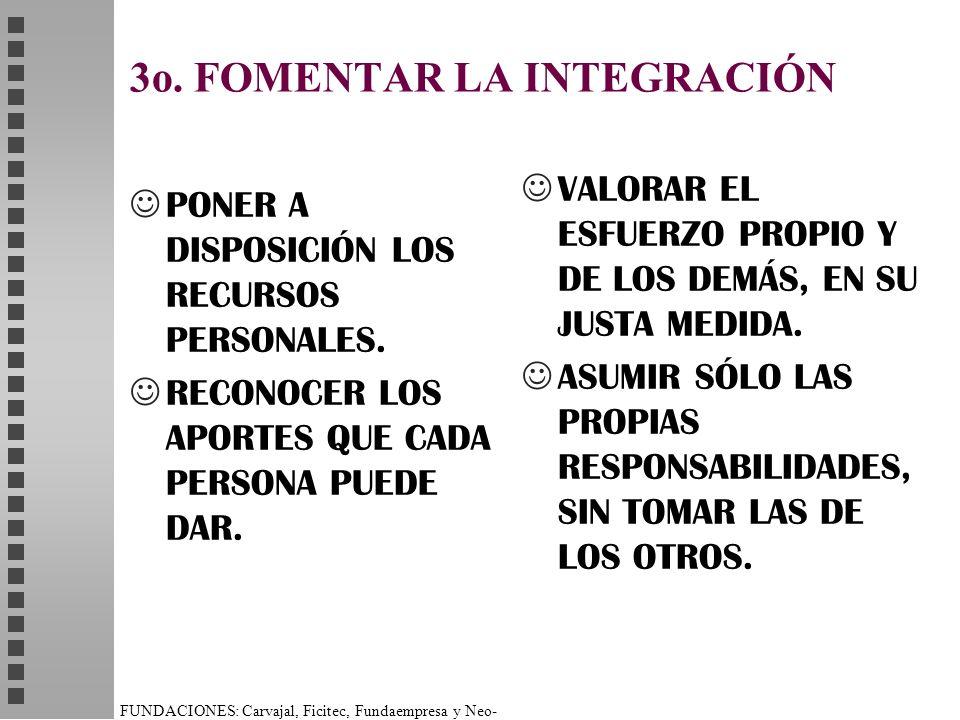 FUNDACIONES: Carvajal, Ficitec, Fundaempresa y Neo- Humanista. 3o. FOMENTAR LA INTEGRACIÓN PONER A DISPOSICIÓN LOS RECURSOS PERSONALES. RECONOCER LOS