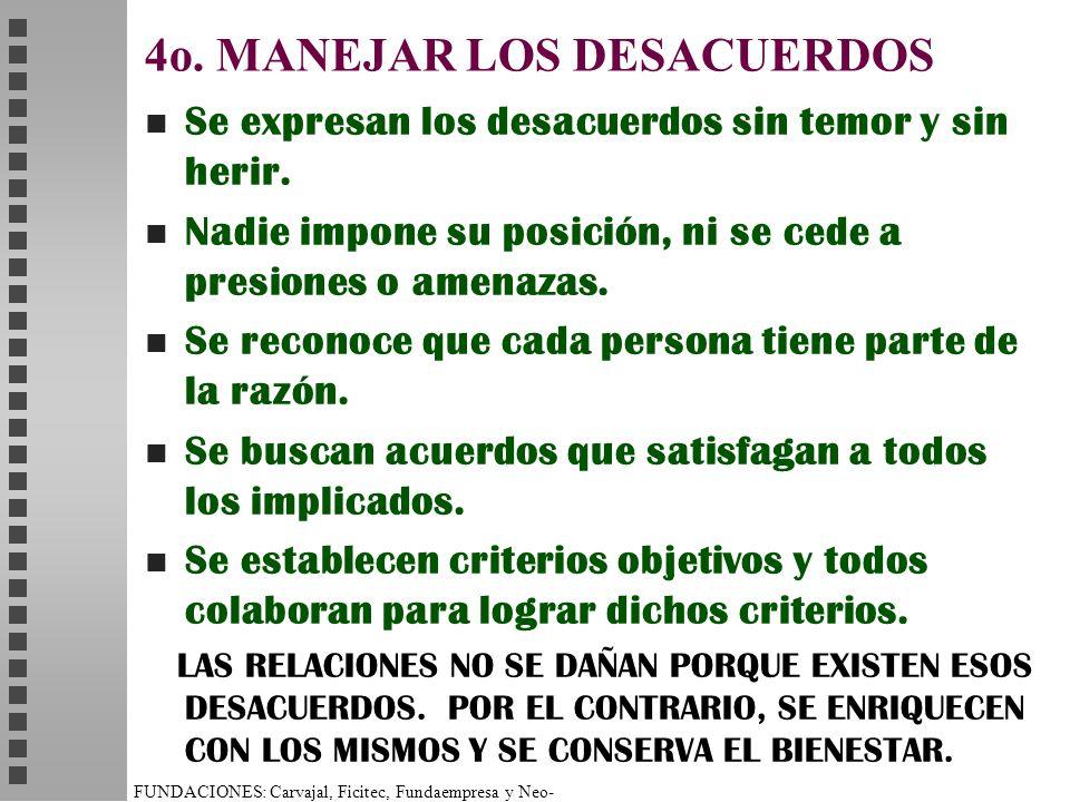FUNDACIONES: Carvajal, Ficitec, Fundaempresa y Neo- Humanista. 4o. MANEJAR LOS DESACUERDOS n Se expresan los desacuerdos sin temor y sin herir. n Nadi