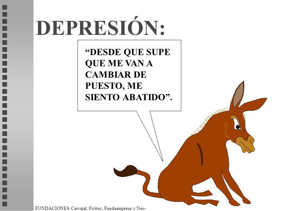 FUNDACIONES: Carvajal, Ficitec, Fundaempresa y Neo- Humanista. DEPRESIÓN: DESDE QUE SUPE QUE ME VAN A CAMBIAR DE PUESTO, ME SIENTO ABATIDO.