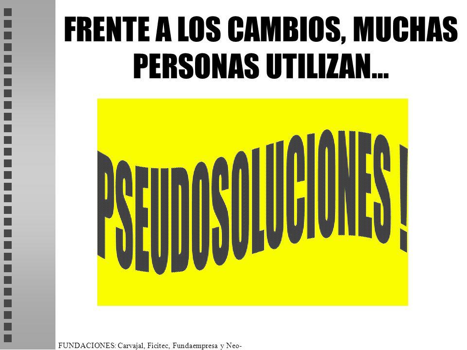 FUNDACIONES: Carvajal, Ficitec, Fundaempresa y Neo- Humanista. FRENTE A LOS CAMBIOS, MUCHAS PERSONAS UTILIZAN...