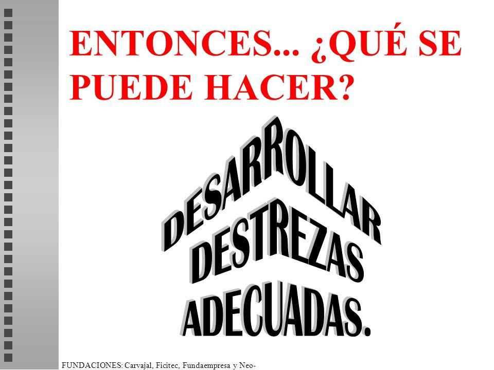 FUNDACIONES: Carvajal, Ficitec, Fundaempresa y Neo- Humanista. ENTONCES... ¿QUÉ SE PUEDE HACER?