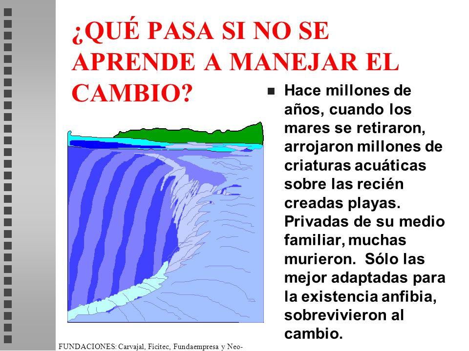 FUNDACIONES: Carvajal, Ficitec, Fundaempresa y Neo- Humanista. ¿QUÉ PASA SI NO SE APRENDE A MANEJAR EL CAMBIO? n Hace millones de años, cuando los mar