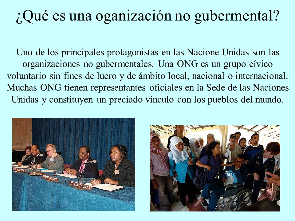 ¿Qué es una oganización no gubermental? Uno de los principales protagonistas en las Nacione Unidas son las organizaciones no gubermentales. Una ONG es