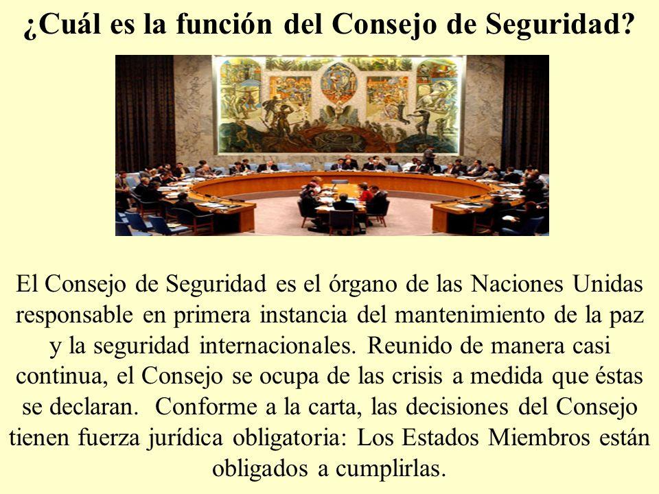 ¿Cuál es la función del Consejo de Seguridad? El Consejo de Seguridad es el órgano de las Naciones Unidas responsable en primera instancia del manteni