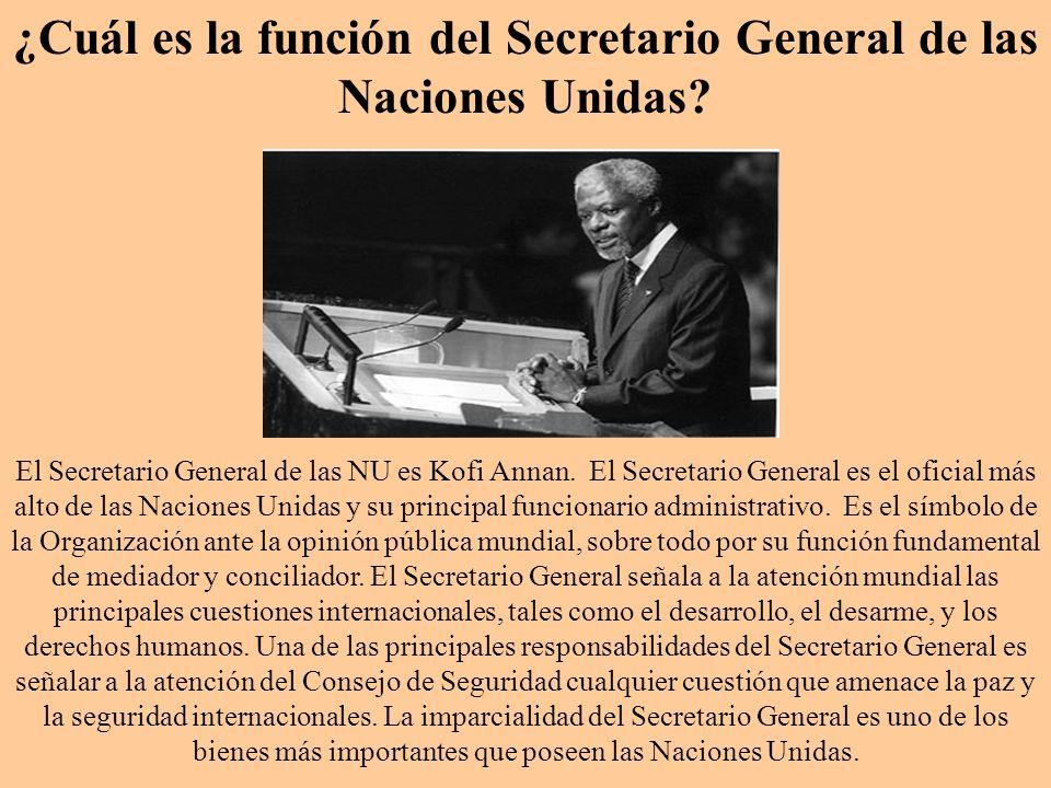 ¿Cuál es la función del Secretario General de las Naciones Unidas? El Secretario General de las NU es Kofi Annan. El Secretario General es el oficial