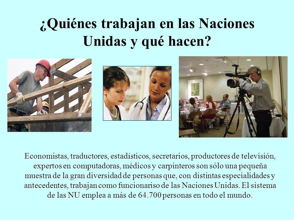 ¿Quiénes trabajan en las Naciones Unidas y qué hacen? Economistas, traductores, estadísticos, secretarios, productores de televisión, expertos en comp