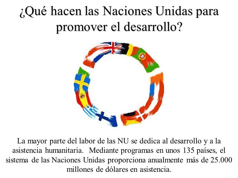 ¿Qué hacen las Naciones Unidas para promover el desarrollo? La mayor parte del labor de las NU se dedica al desarrollo y a la asistencia humanitaria.
