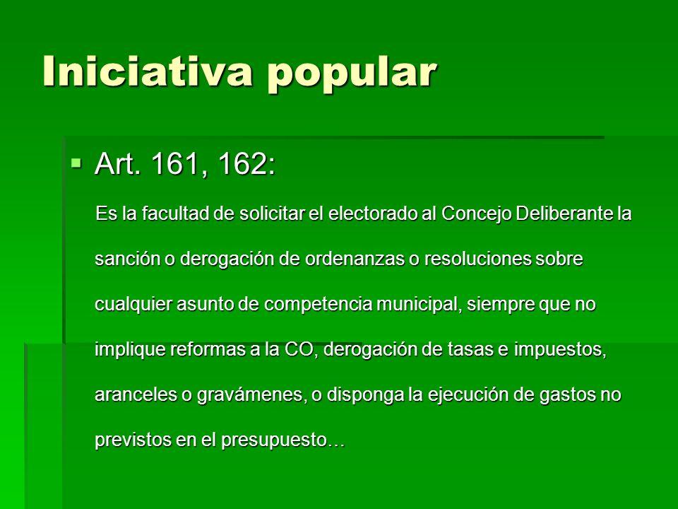 Iniciativa popular Art. 161, 162: Art.