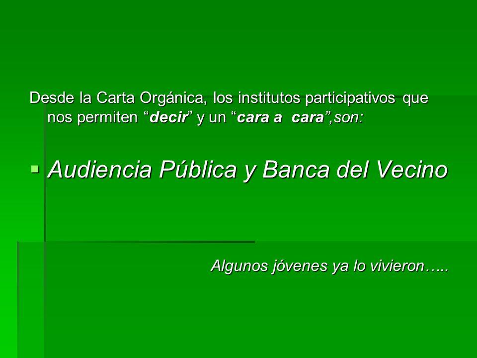 INICIATIVA POPULAR (art 161 y 162 Carta Orgánica Municipal) Incorporar el artículo 4° bis a la Ordenanza N° 1744-CM-07 sobre Audiencias Públicas.