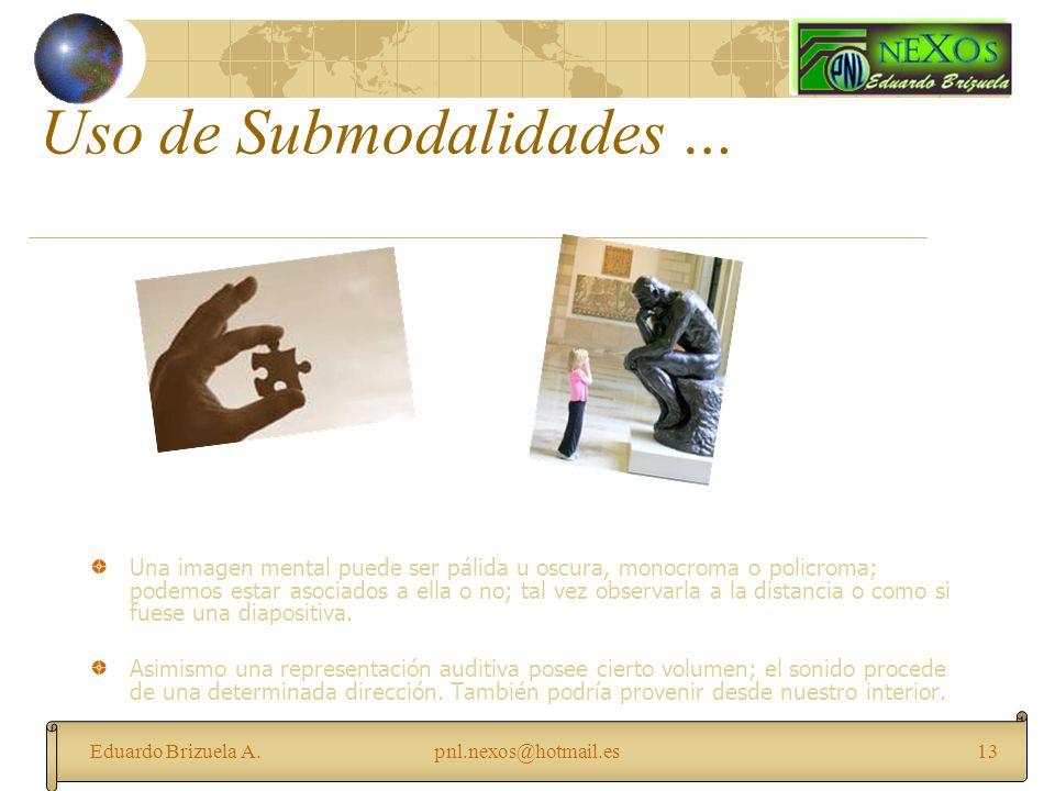 Eduardo Brizuela A.pnl.nexos@hotmail.es13 Uso de Submodalidades … Una imagen mental puede ser pálida u oscura, monocroma o policroma; podemos estar as