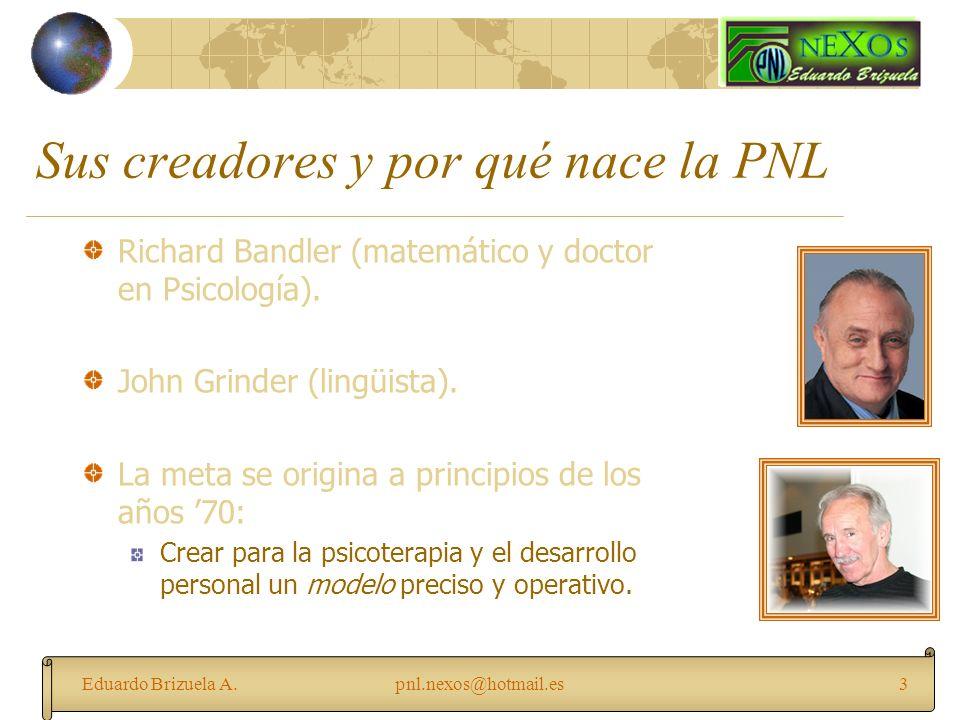 Eduardo Brizuela A.pnl.nexos@hotmail.es3 Sus creadores y por qué nace la PNL Richard Bandler (matemático y doctor en Psicología). John Grinder (lingüi