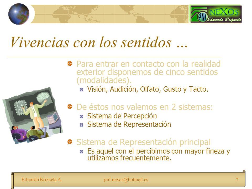 Eduardo Brizuela A.pnl.nexos@hotmail.es7 Vivencias con los sentidos … Para entrar en contacto con la realidad exterior disponemos de cinco sentidos (m