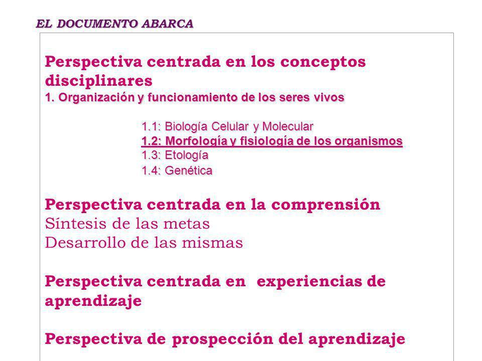 EL DOCUMENTO ABARCA Perspectiva centrada en los conceptos disciplinares 1.