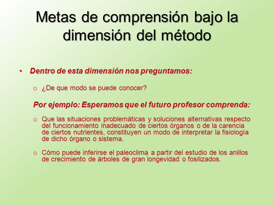 Metas de comprensión bajo la dimensión del método Dentro de esta dimensión nos preguntamos:Dentro de esta dimensión nos preguntamos: o ¿De que modo se puede conocer.