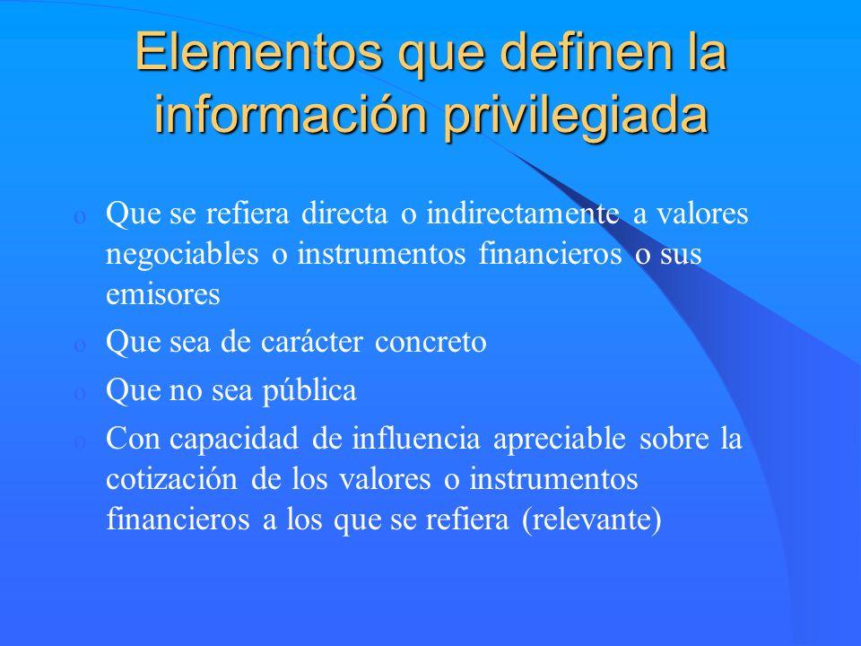 Elementos que definen la información privilegiada o Que se refiera directa o indirectamente a valores negociables o instrumentos financieros o sus emi