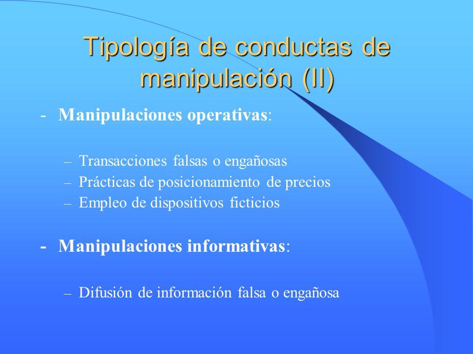 Tipología de conductas de manipulación (II) -Manipulaciones operativas: – Transacciones falsas o engañosas – Prácticas de posicionamiento de precios –