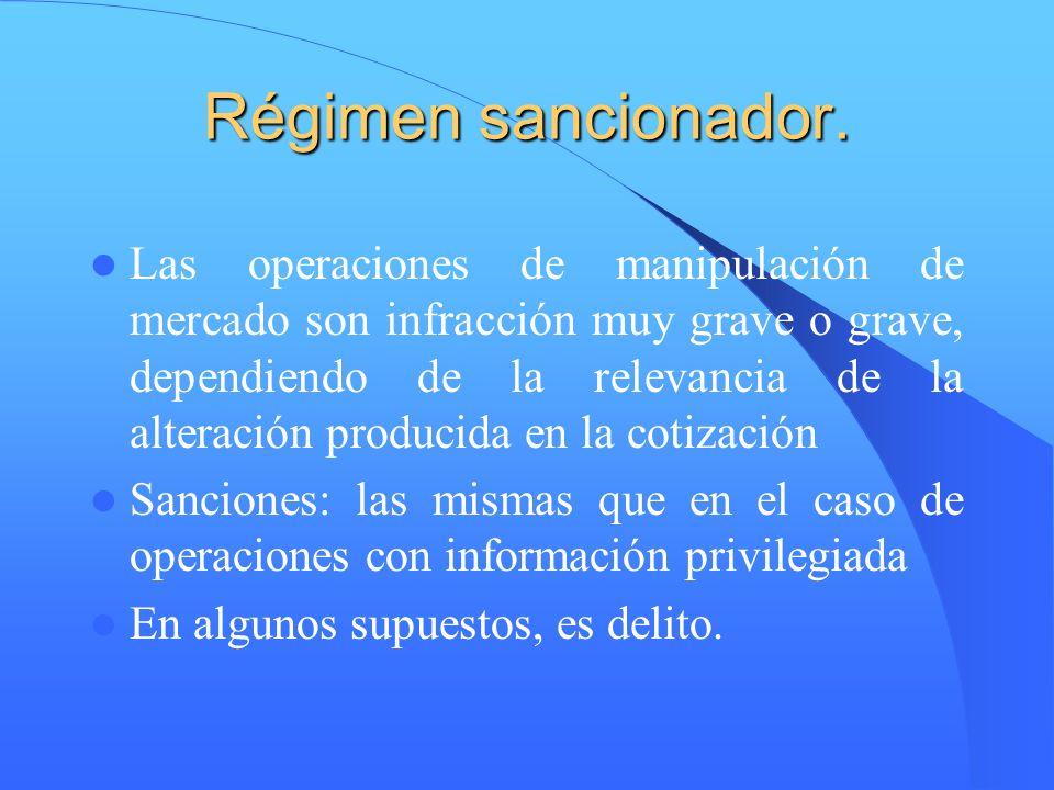 Régimen sancionador. Las operaciones de manipulación de mercado son infracción muy grave o grave, dependiendo de la relevancia de la alteración produc