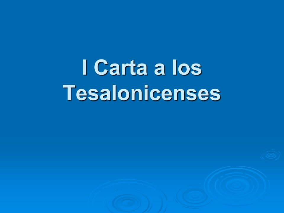 I Carta a los Tesalonicenses