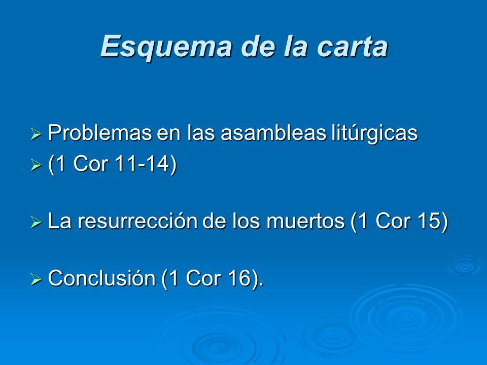 Esquema de la carta Problemas en las asambleas litúrgicas Problemas en las asambleas litúrgicas (1 Cor 11-14) (1 Cor 11-14) La resurrección de los mue