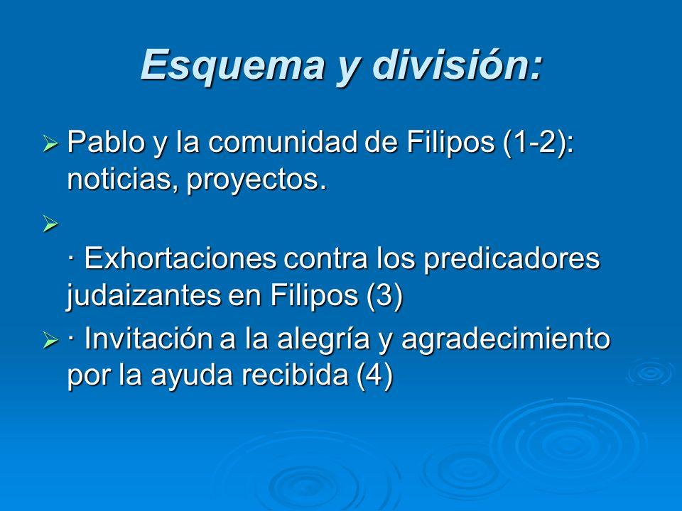 Esquema y división: Pablo y la comunidad de Filipos (1-2): noticias, proyectos. Pablo y la comunidad de Filipos (1-2): noticias, proyectos. · Exhortac