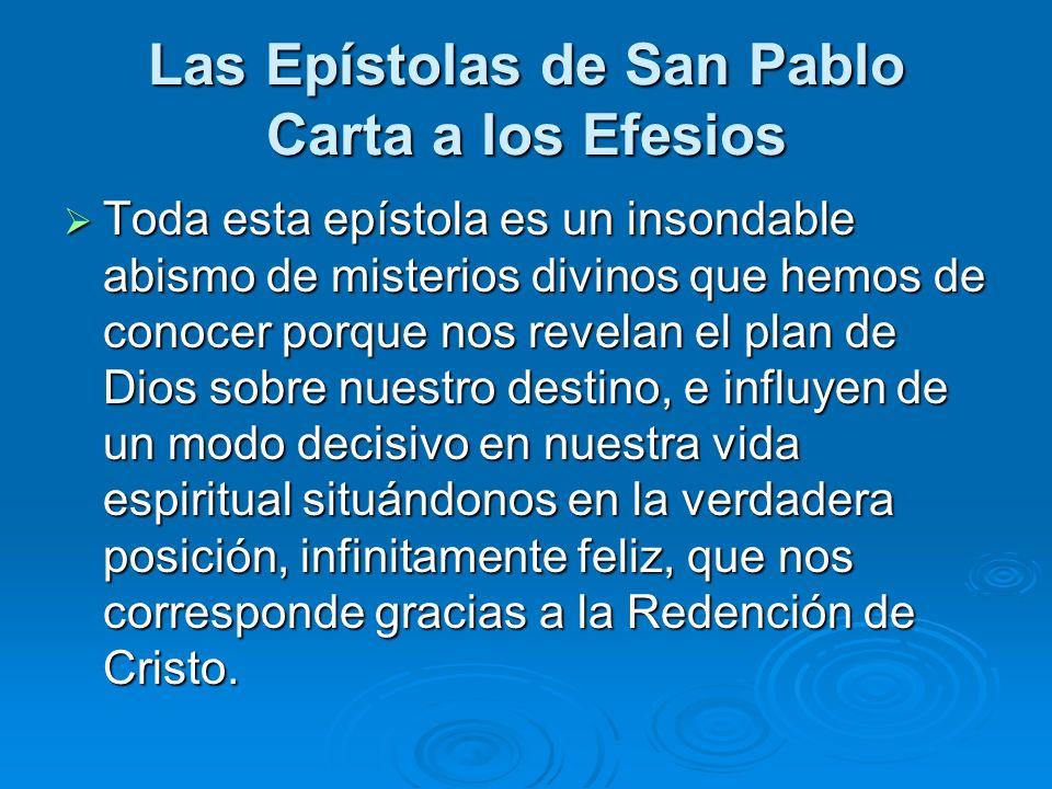 Toda esta epístola es un insondable abismo de misterios divinos que hemos de conocer porque nos revelan el plan de Dios sobre nuestro destino, e influ