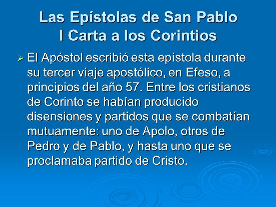 El Apóstol escribió esta epístola durante su tercer viaje apostólico, en Efeso, a principios del año 57. Entre los cristianos de Corinto se habían pro