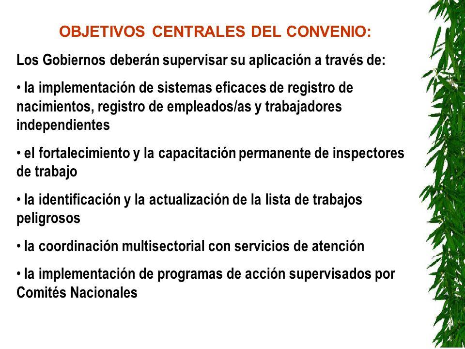 OBJETIVOS CENTRALES DEL CONVENIO: Los Gobiernos deberán supervisar su aplicación a través de: la implementación de sistemas eficaces de registro de na