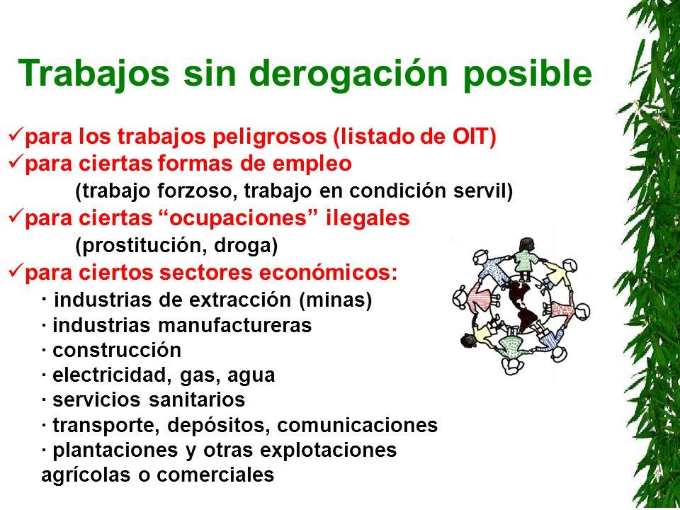 Trabajos sin derogación posible para los trabajos peligrosos (listado de OIT) para ciertas formas de empleo (trabajo forzoso, trabajo en condición ser