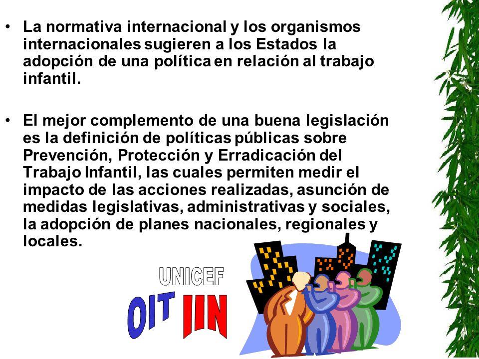 La normativa internacional y los organismos internacionales sugieren a los Estados la adopción de una política en relación al trabajo infantil. El mej