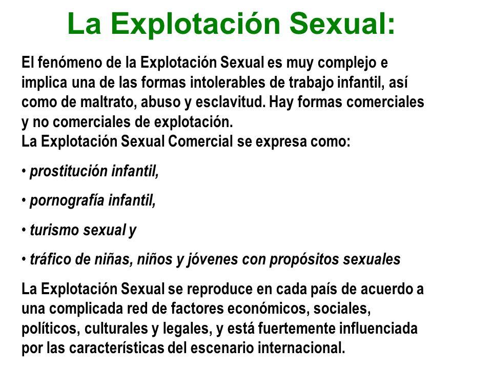 La Explotación Sexual: El fenómeno de la Explotación Sexual es muy complejo e implica una de las formas intolerables de trabajo infantil, así como de