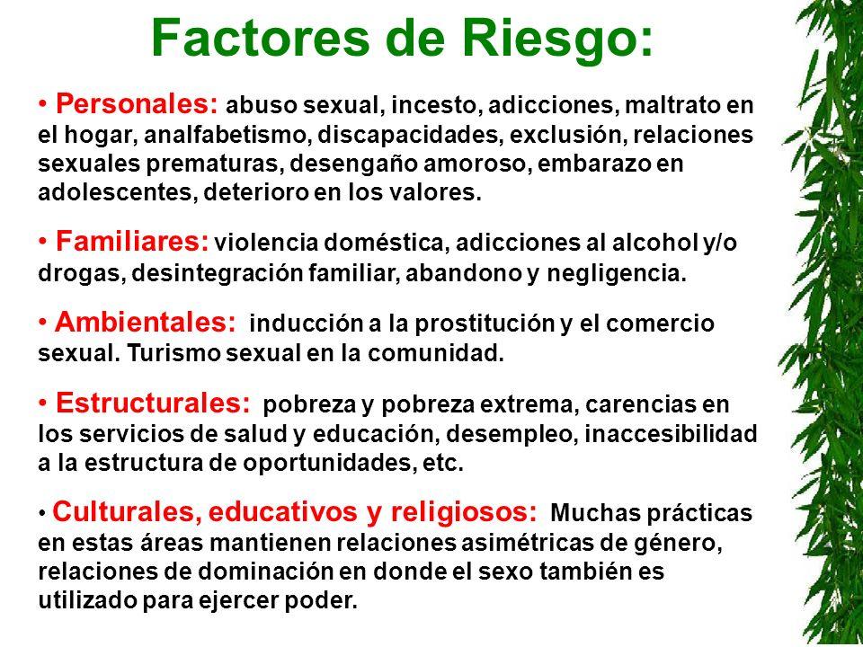 Factores de Riesgo: Personales: abuso sexual, incesto, adicciones, maltrato en el hogar, analfabetismo, discapacidades, exclusión, relaciones sexuales