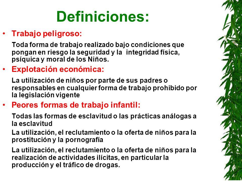Definiciones: Trabajo peligroso: Toda forma de trabajo realizado bajo condiciones que pongan en riesgo la seguridad y la integridad física, psíquica y