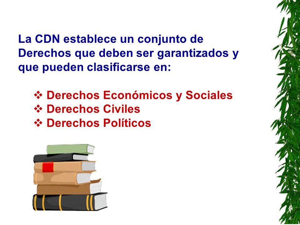 La CDN establece un conjunto de Derechos que deben ser garantizados y que pueden clasificarse en: Derechos Económicos y Sociales Derechos Civiles Dere
