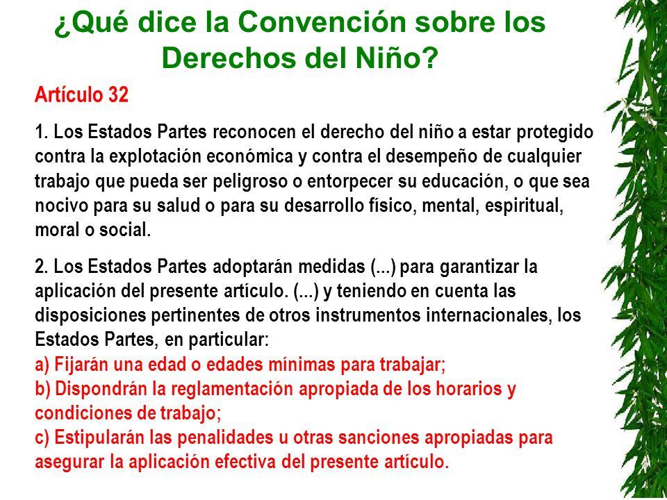 ¿Qué dice la Convención sobre los Derechos del Niño? Artículo 32 1. Los Estados Partes reconocen el derecho del niño a estar protegido contra la explo